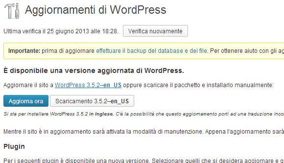 WordPress, aggiornamento alla versione 3.5.2 per la sicurezza