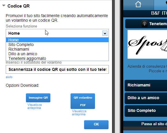 Codice QR per sito mobile
