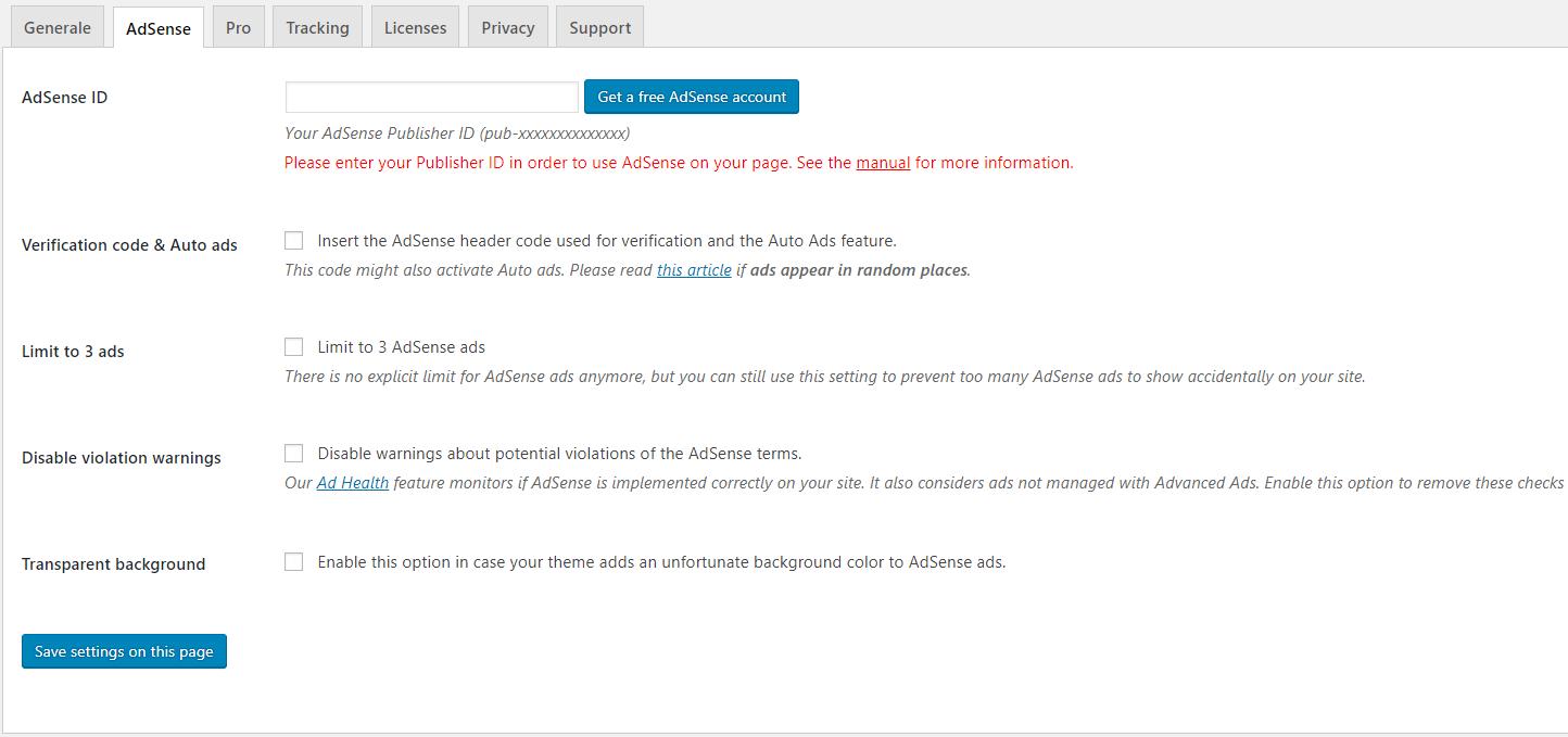 AdSense in WordPress