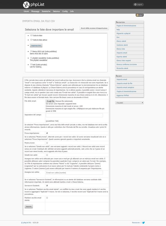 Server DEM Hosting Solutions: creare una campagna phpList