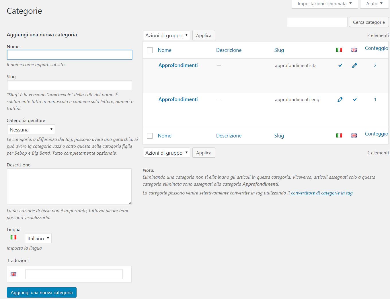 Polylang sito WordPress multilingua