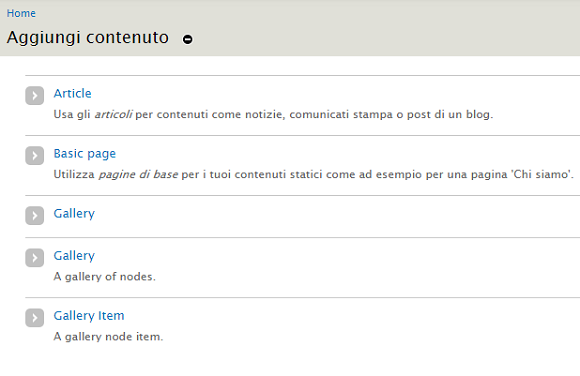 drupal node gallery aggiungi contenuto