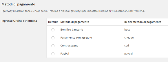 e-commerce con woocommerce metodi pagamento