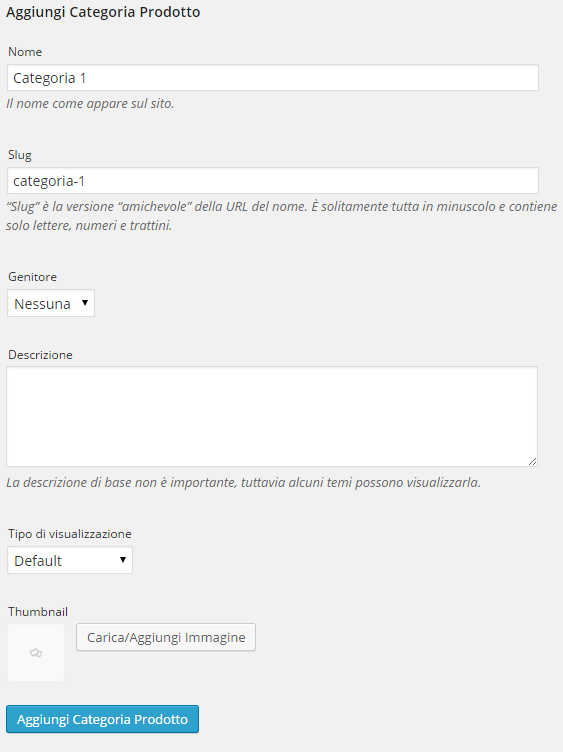 woocommerce categorie prodotto