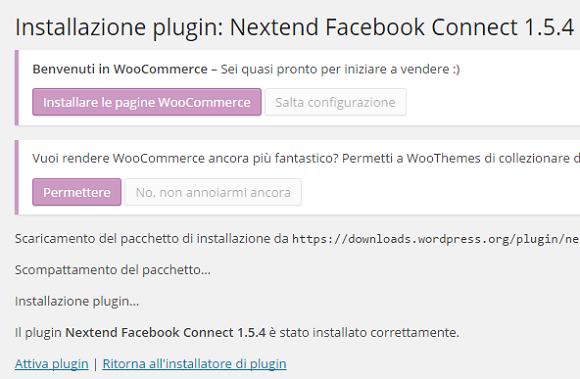 wordpress login facebook attivazione