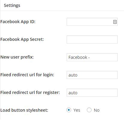 wordpress login facebook settings