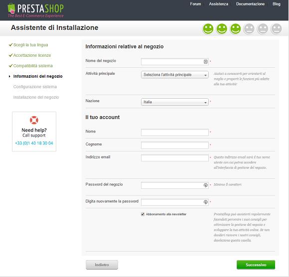 e-commerce prestashop installazione 7