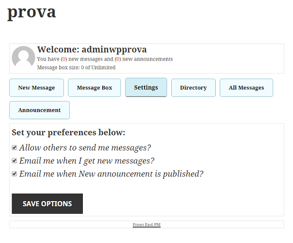 sistema di private messaging in WordPress 5