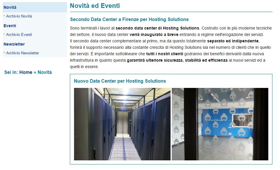 Sezione novità Hosting Solutions