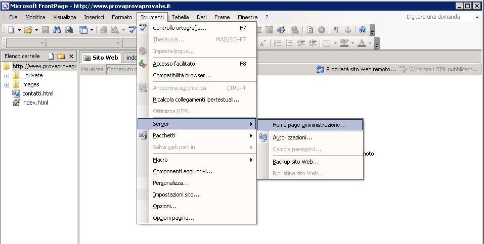 hosting windows frontpage