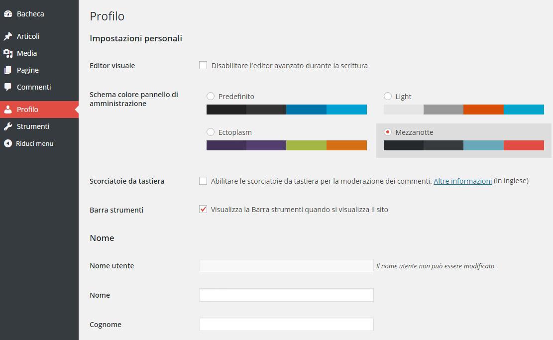 WordPress cambiare lo schema dei colori