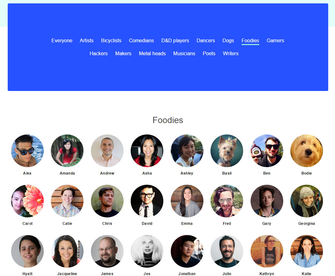 Team page esempio