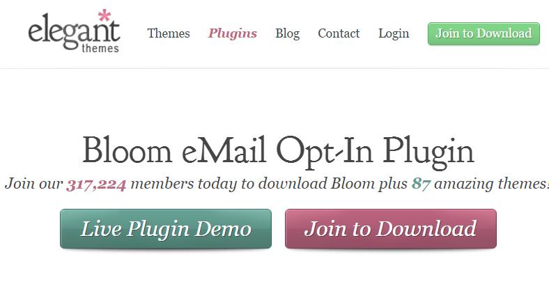 Bloom popup plugin