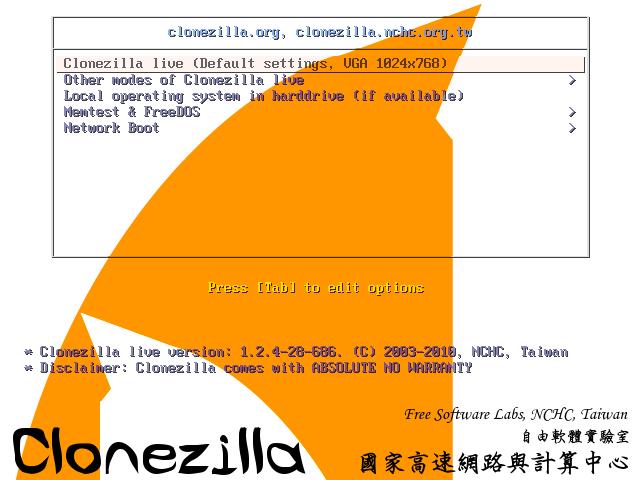 Clonezilla backup con Ubuntu