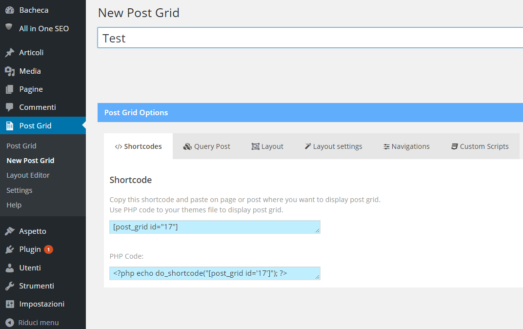 WordPress post grid
