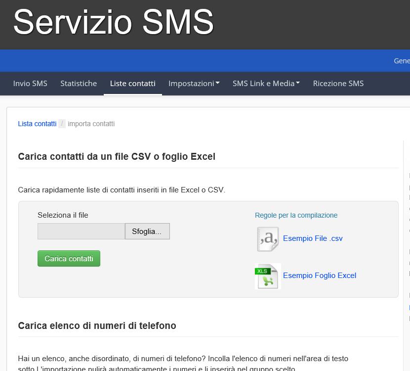 Servizi SMS - schermata importazione contatti