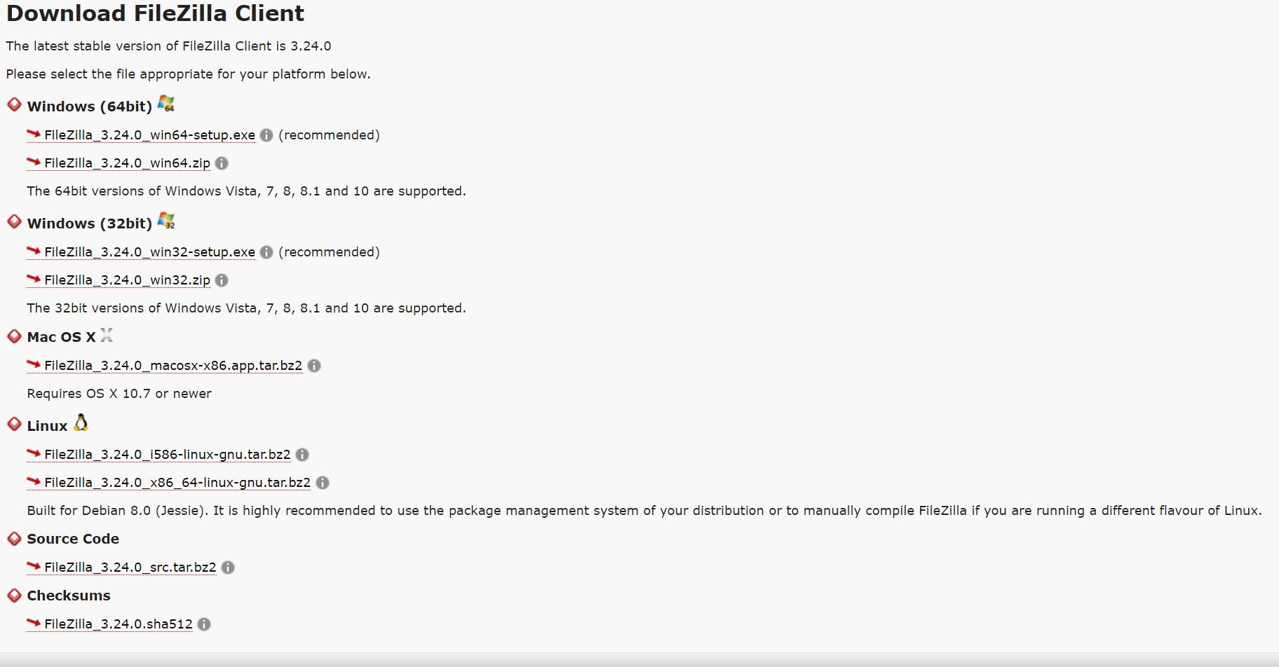 FileZilla versioni disponibili