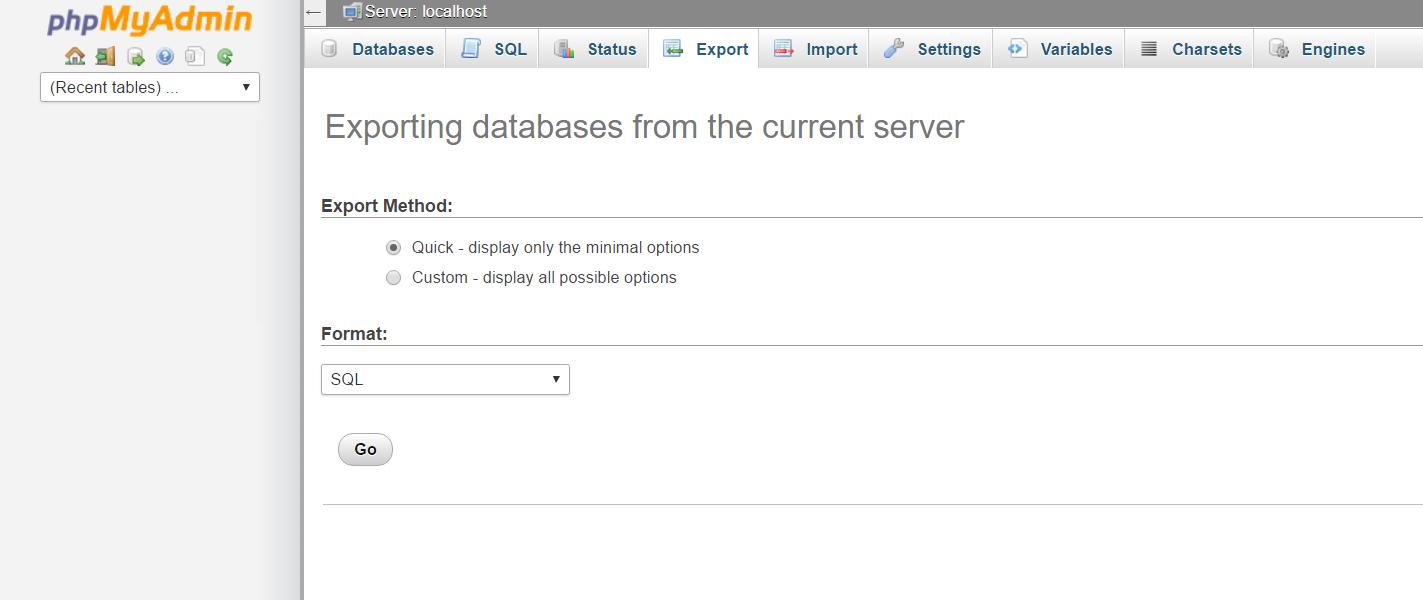 Esportare un database con phpMyAdmin