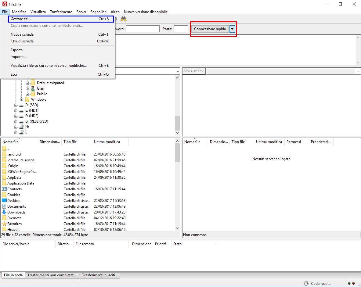 Filezilla schermata principale ed opzioni di connessione allo spazio di storage