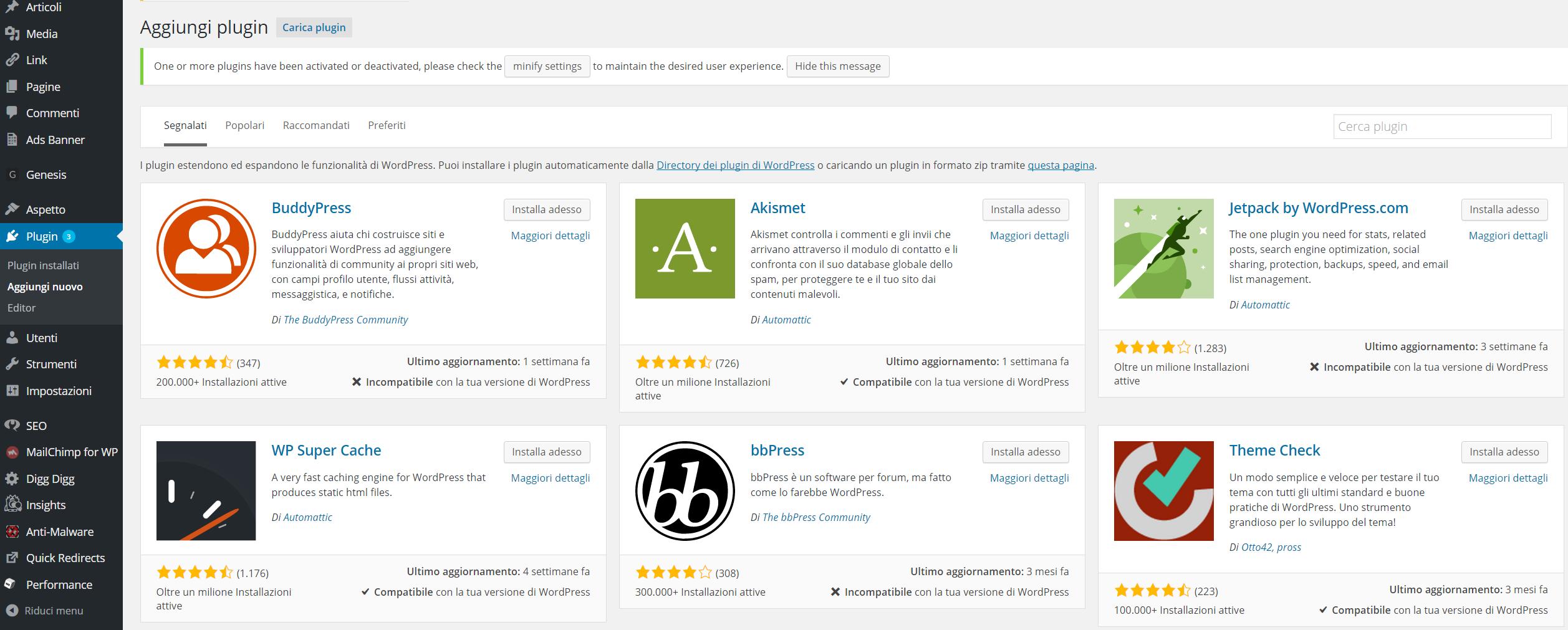 WordPress installare ed attivare un'estensione