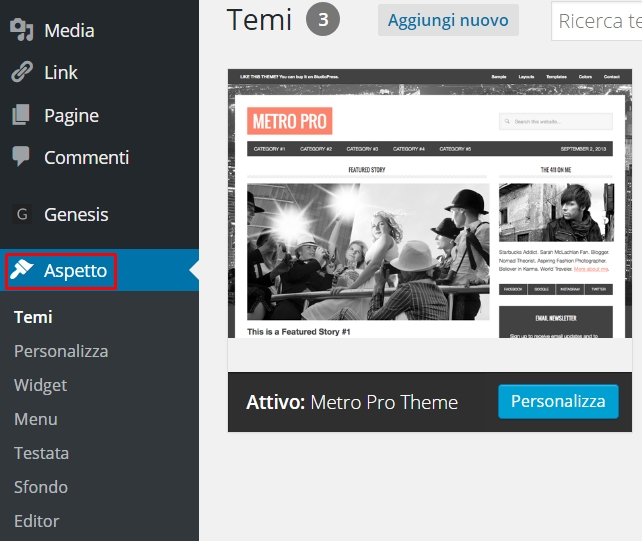 WordPress cambiare tema