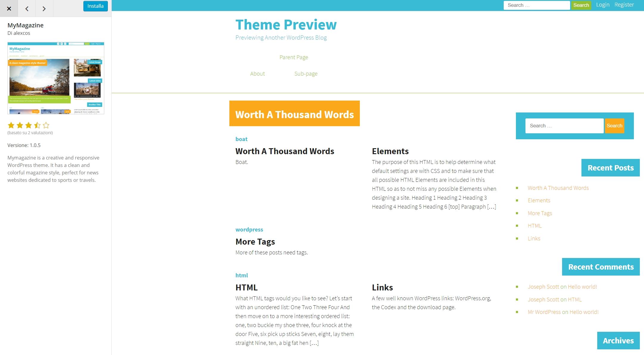 WordPress, anteprima di un tema