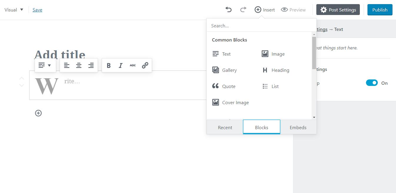 Gutenberg, plugin che sostituirà il classico editor WordPress