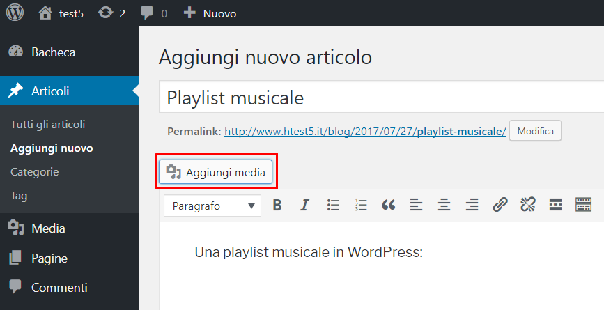 WordPress: inserire una playlist musicale