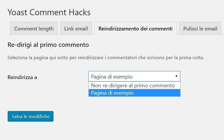 Redirect per i commenti degli utenti