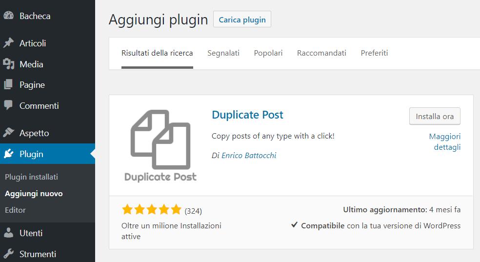 Duplicate Posts, schermata di ricerca dei plugin
