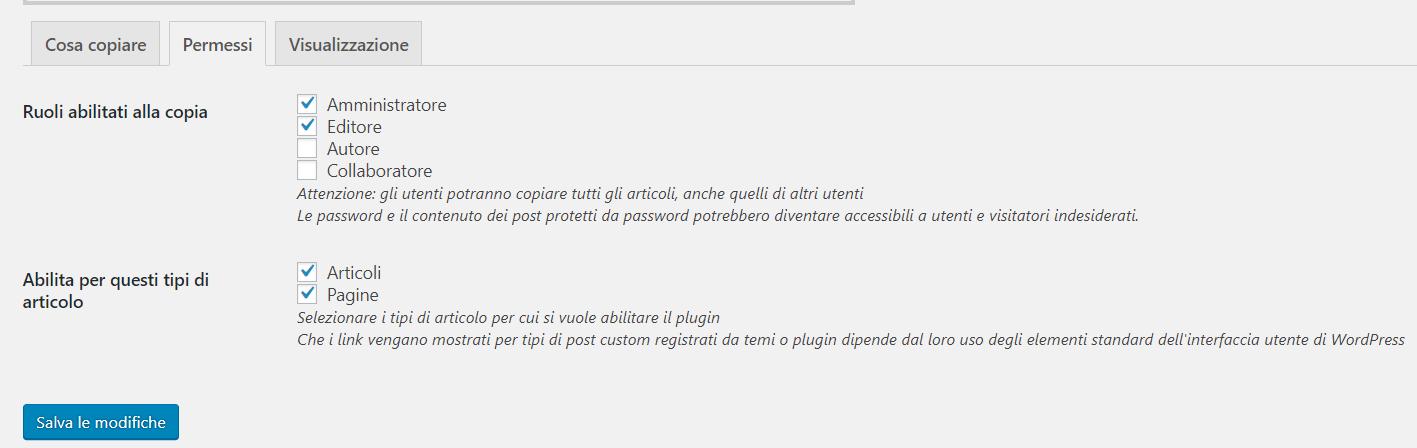 Duplicate Posts , sezione Permessi