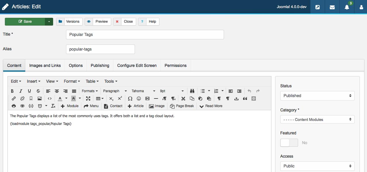 La schermata per la creazione dei contenuti in Joomla 4