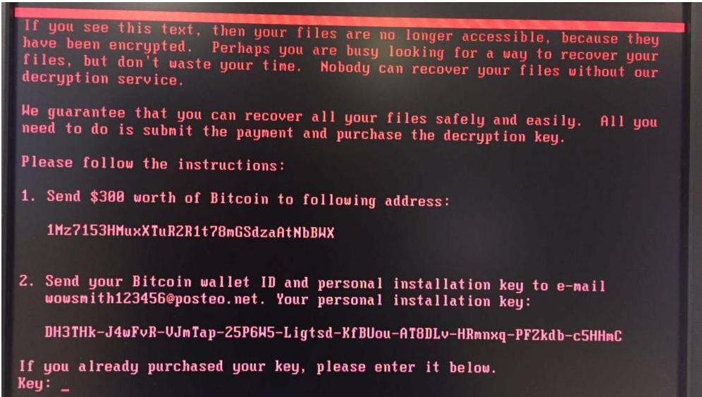 La schermata di un terminale colpito dal malware Petya.