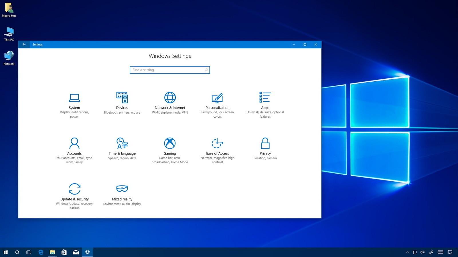 Windows 10, una schermata dell'ultima major release (Creators Update)