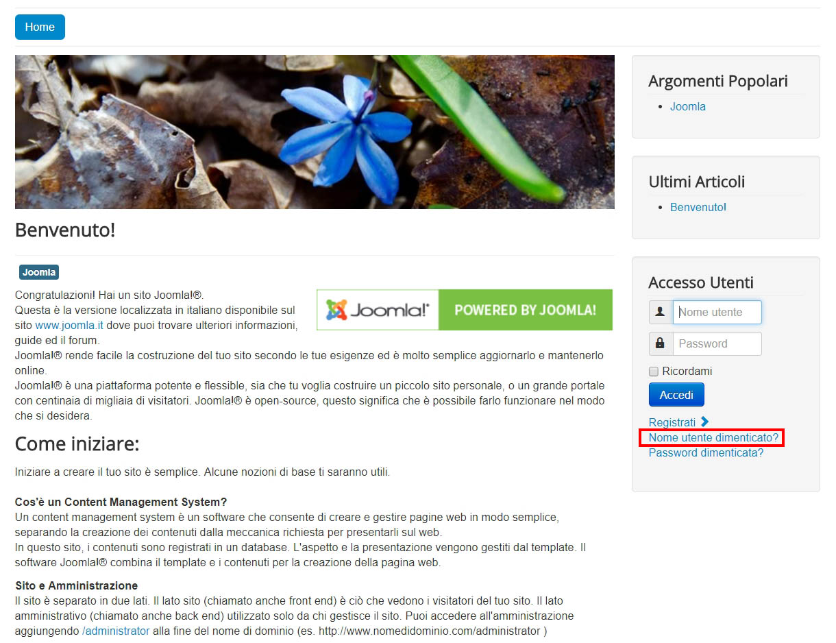 Joomla: recuperare username e password