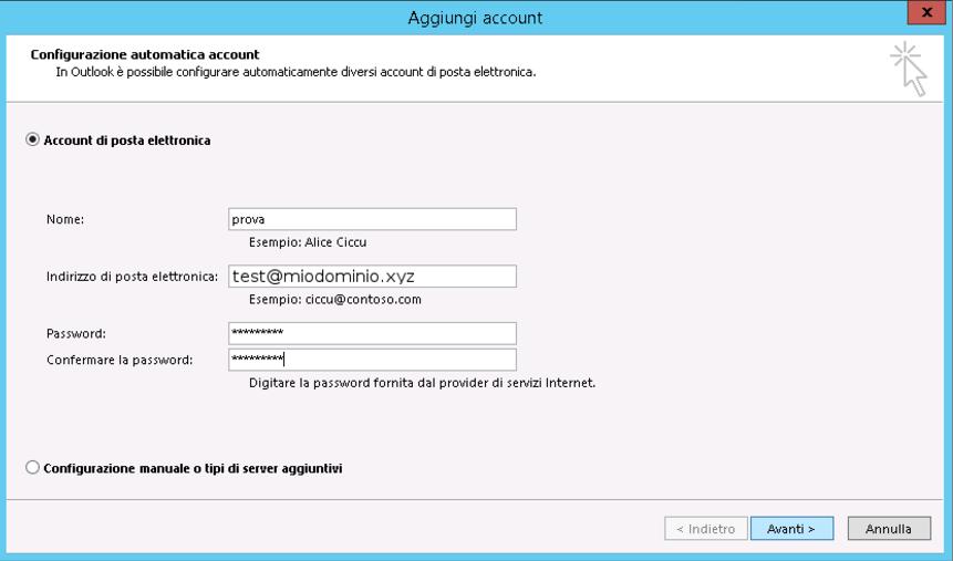 Configurare Outlook con Autodiscover