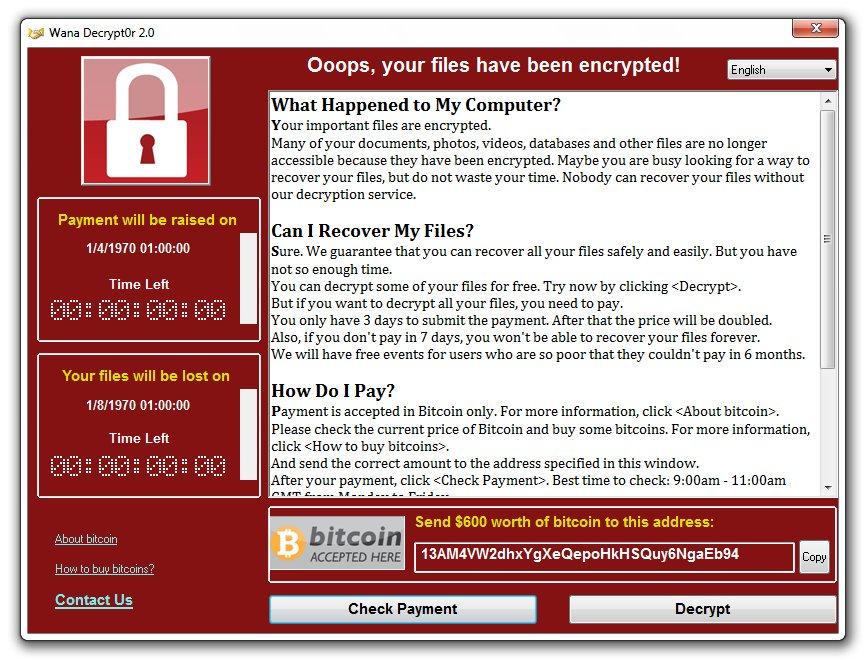 L'ormai celebre schermata del ransomware Wannacrypt