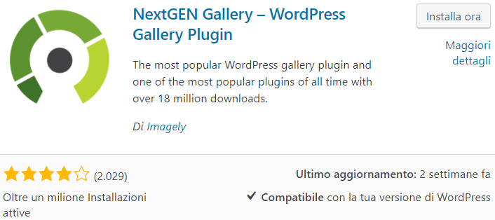Galleria WordPress con NextGEN gallery