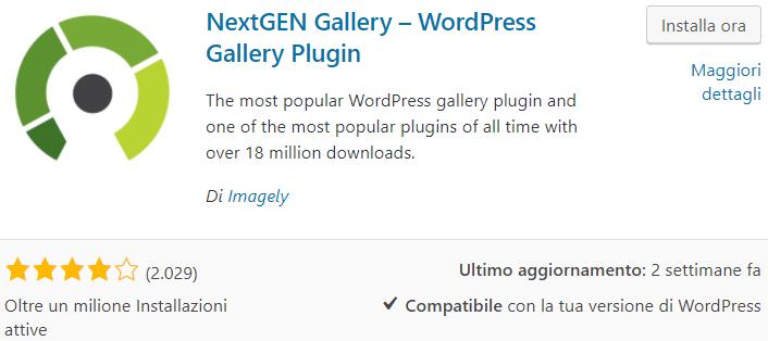 Galleria WordPress con NextGEN gallery
