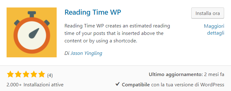 WordPress reading time plugin