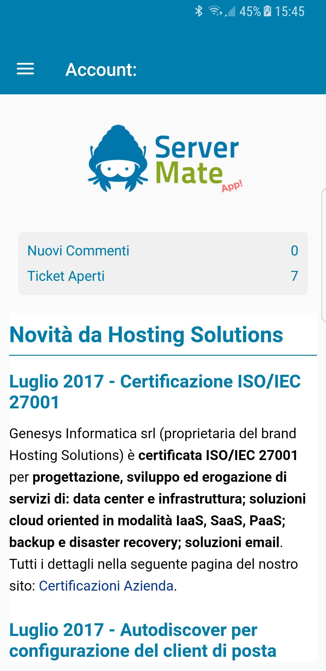Server Mate app - home