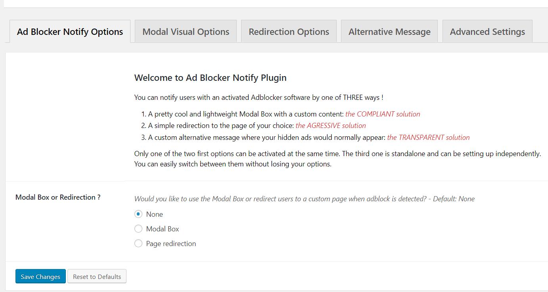 AdBlocker Notify - impostazioni
