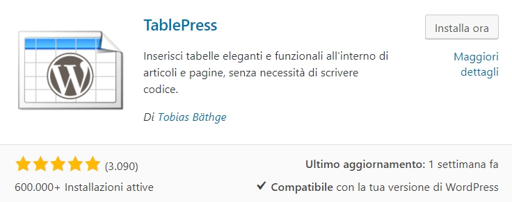 TablePress, inserire tabelle in WordPress