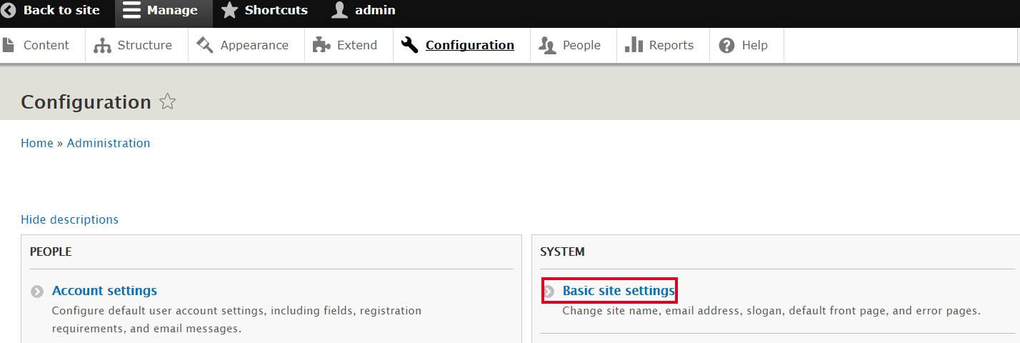 Drupal, modificare il nome del sito e lo slogan