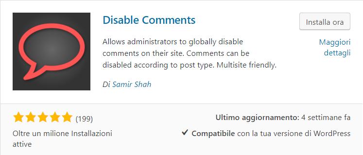 WordPress: come disattivare i commenti