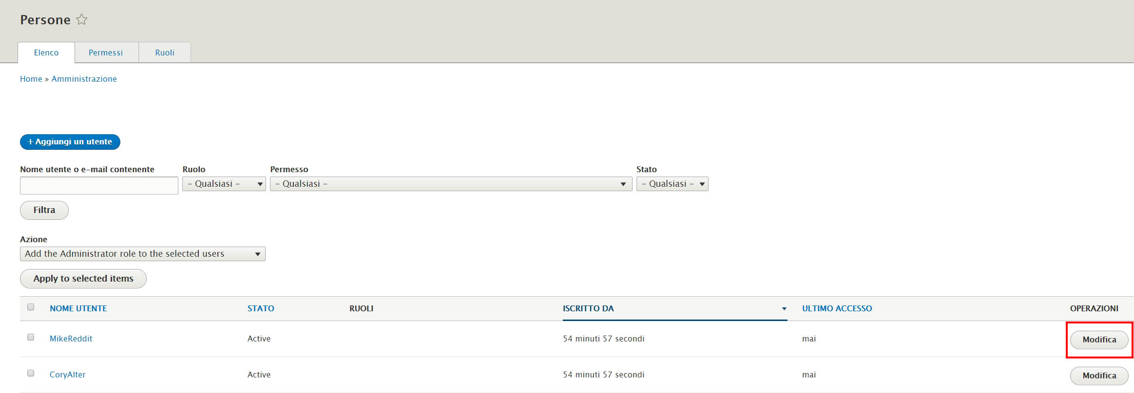 Drupal: gestire permessi e ruoli degli utenti