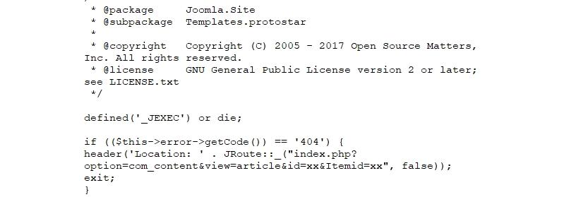 Joomla, aggiunguere una pagina errore 404