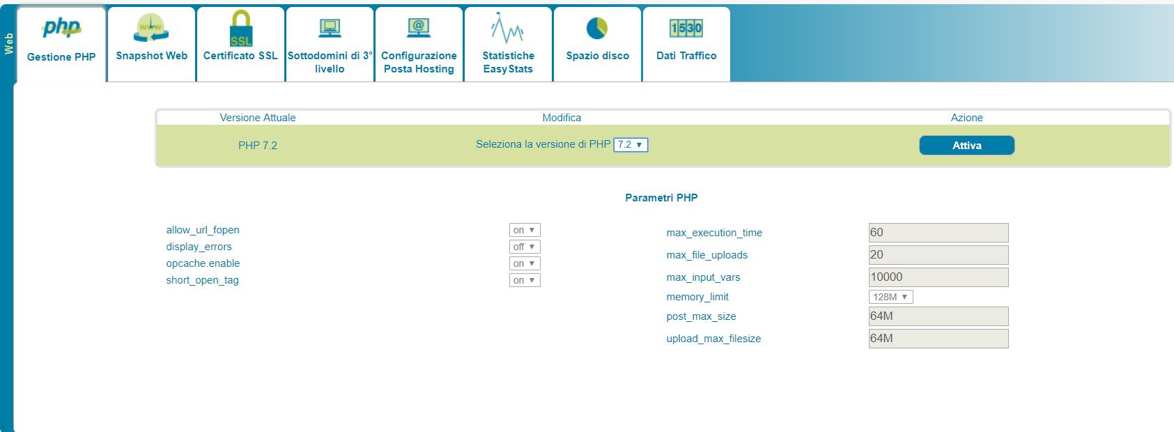 ServerMate: cambiare la versione di PHP in uso