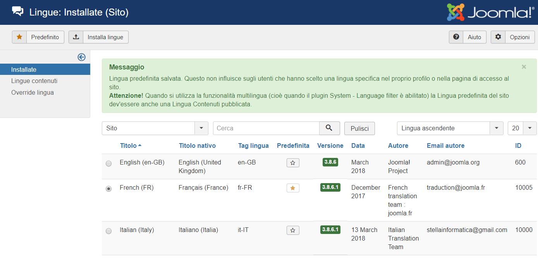 Joomla installare ed attivare nuova lingua