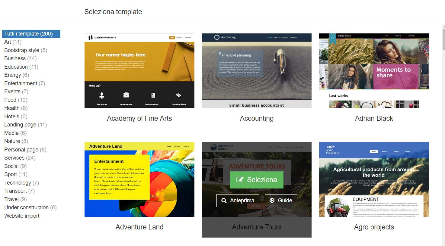 La pagina di selezione dei template